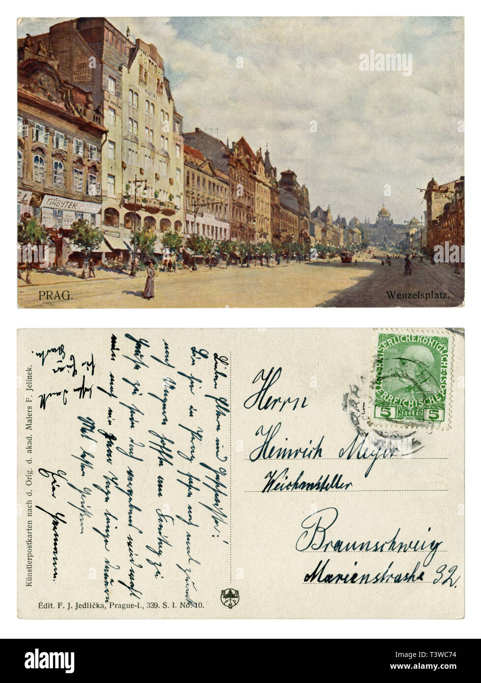 Czech-Austrian historical postcard: Picturesque view of Wenceslas square with houses, hotels, shops and the national Museum. Pedestrians. Tram. 1912 - Stock Image