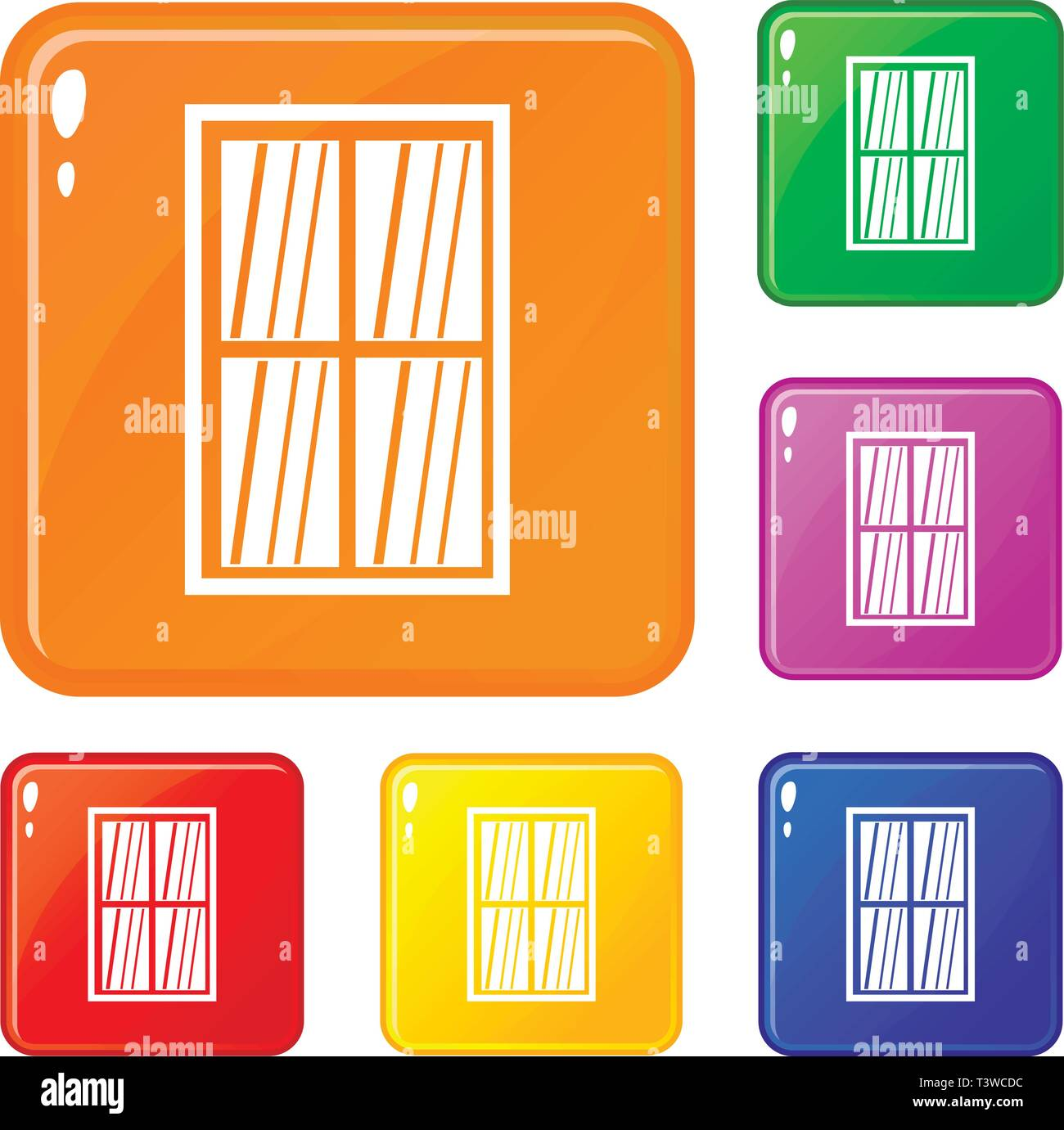 White latticed rectangle window icons set vector color Stock