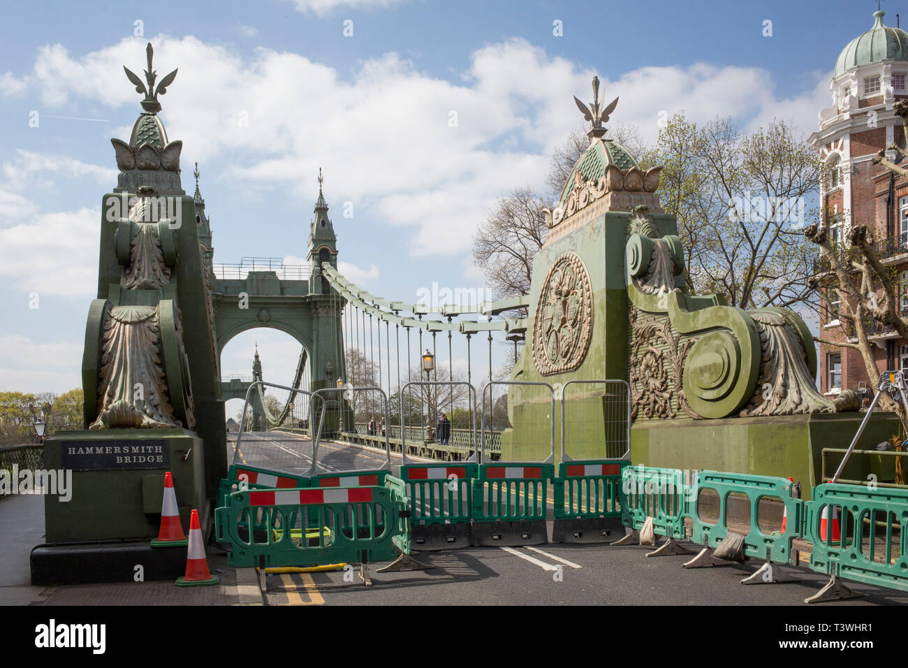 After being closed indefinitely to all traffic due to structural faults, an architectural detail of Hammersmith Bridge, on 11th April 2019, in west London, England. Safety checks revealed 'critical faults' and Hammersmith and Fulham Council has said it's ben left with no choice but to shut the bridge until refurbishment costs could be met. The government has said that between 2015 and 2021 its is providing £11bn of support to the 132-year-old bridge. - Stock Image