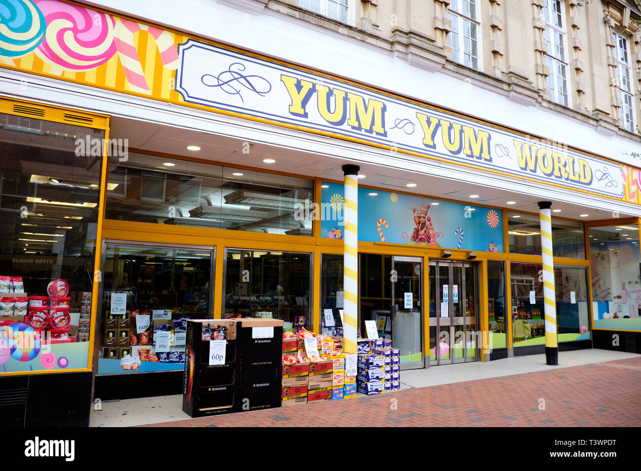 Facade Of Yum Yum World A Sweet Shop & Childrens Soft Play Area, High Street, Rugby, Warwickshire, UK - Stock Image