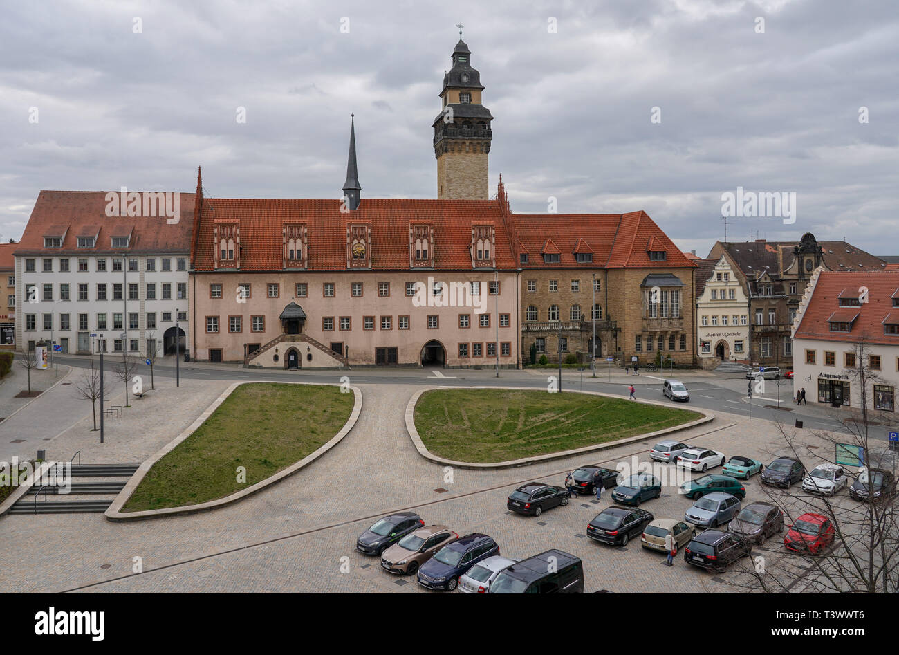 Zeitz, Germany. 26th Mar, 2019. The town hall (M) at the Altmarkt in Zeitz. In a dpa discussion with a city tour, the mayor of Zeitz commented on topics such as coal withdrawal and structural change. (to dpa 'Hot topic coal: Zeitz wants to be 'cool' in the Central German Ruhr') Credit: Peter Endig/dpa/Alamy Live News - Stock Image