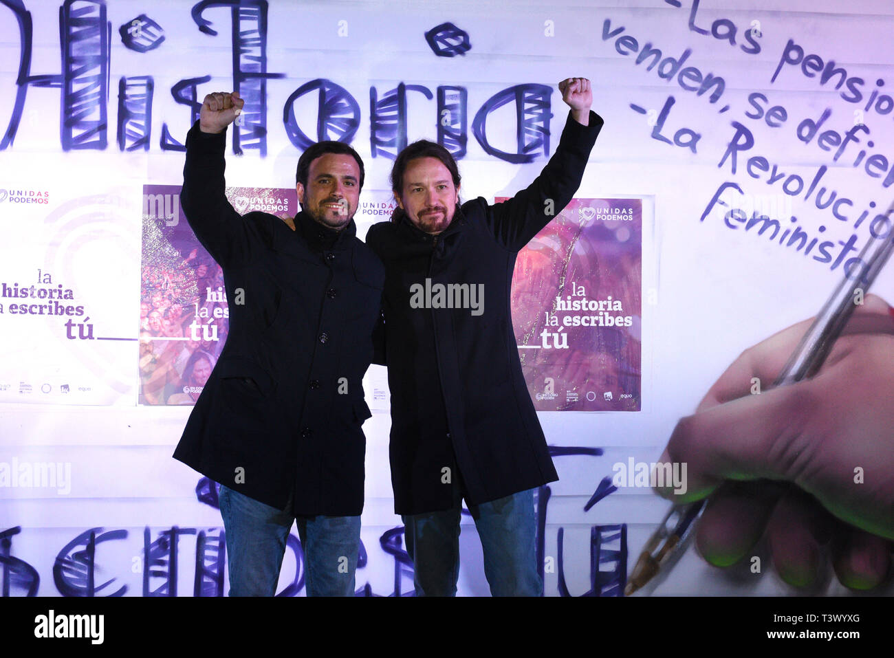 Madrid, Madrid, Spain. 11th Apr, 2019. Spanish left-wing Podemos party leader and presidential candidate for the wing-left Unidas Podemos (United we can) coalition Pablo Iglesias (R), and the general coordinator and lead candidate to the Parliament from Malaga of Unidas Podemos, Alberto Garzon (L), .are seen during a rally to officially launch the party's electoral campaign in Madrid.The 2019 Spanish general election will be held on the 29th April. Credit: John Milner/SOPA Images/ZUMA Wire/Alamy Live News Stock Photo