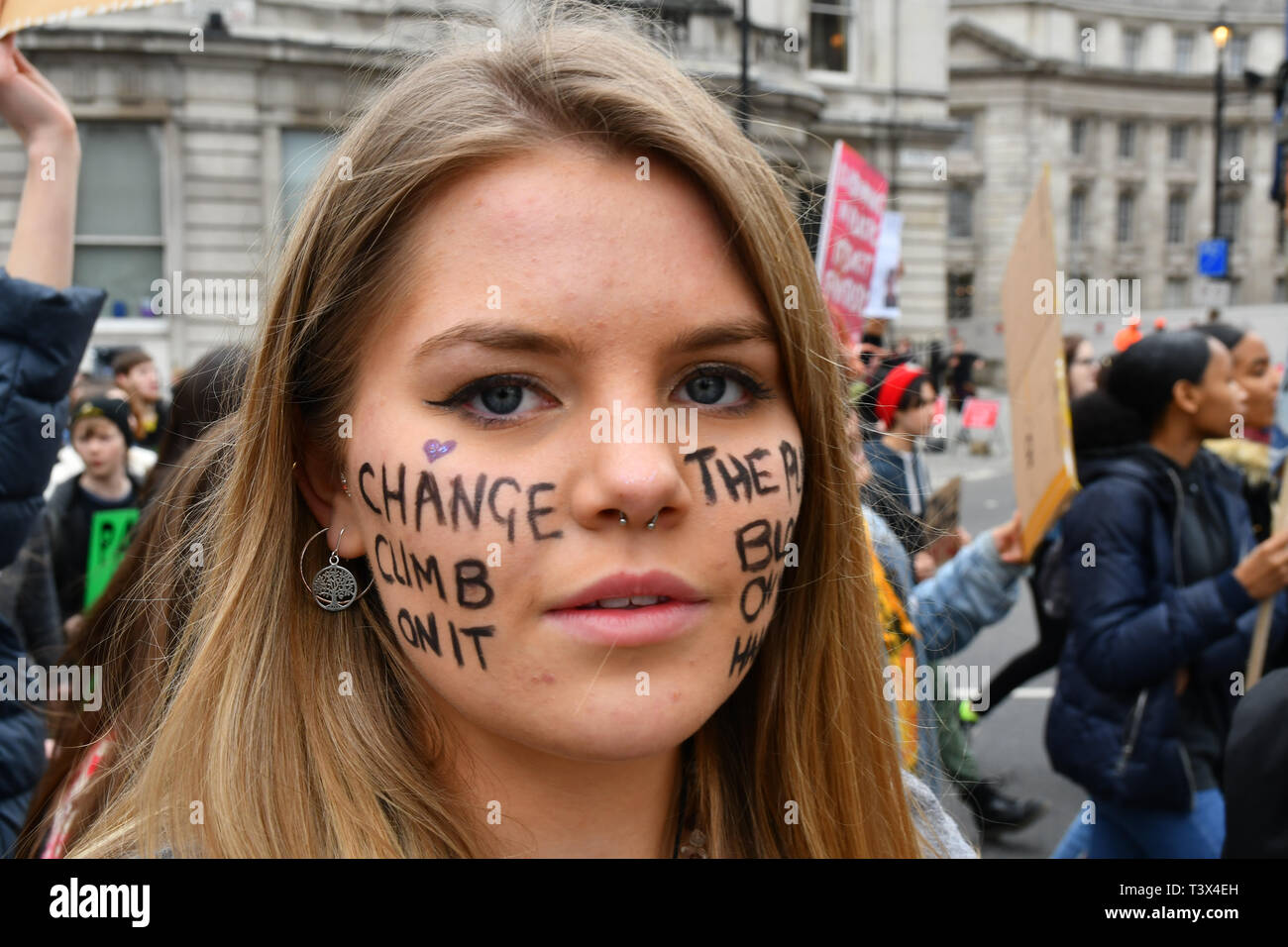 London, UK. 12th Apr 2019. Hundreds of noise youths on London - YouthStrike4Climate - Strike/3 at Parliament Square march to centre London, UK. 12th Apr, 2019. Credit: Picture Capital/Alamy Live News Stock Photo