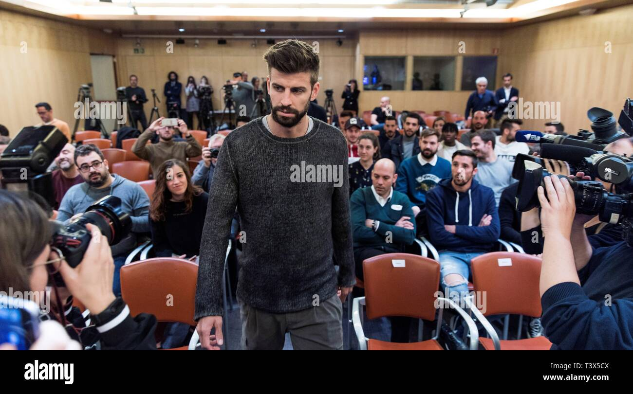 FC Barcelona's soccer player and founder and president of the Kosmos company Gerard Pique attends a press conference held to present the sponsorship of MoraBanc for FC Andorra soccer club, in Andorra la Vella, 12 April 2019. EFE/ Fernando Galindo Stock Photo