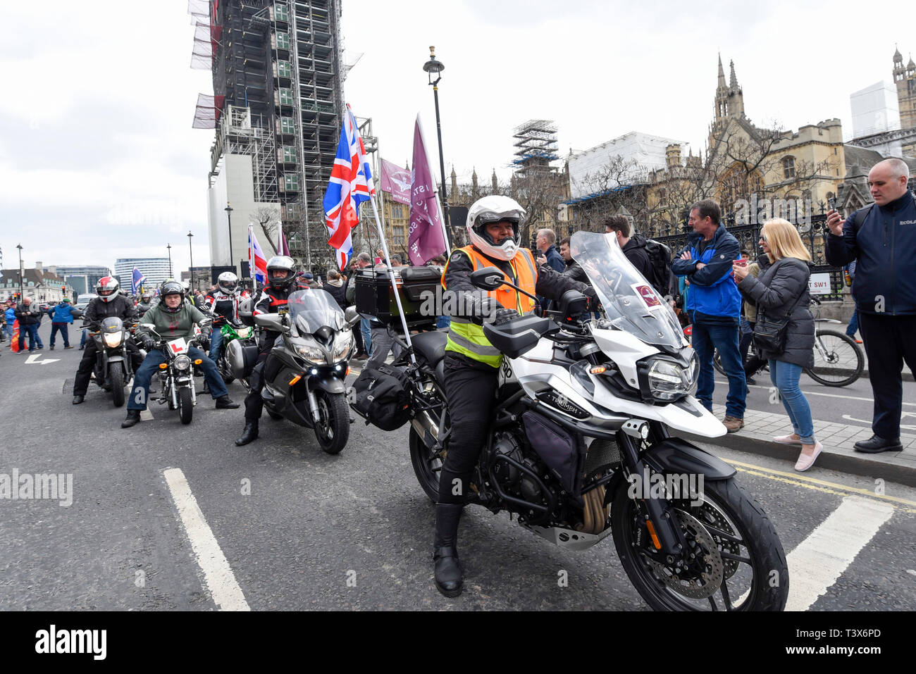 London, UK. 12th Apr 2019. Thousands of bikers take part in a rally called 'Rolling Thunder' in central London in support of 'Soldier F, a 77-year-old Army veteran who faces charges of murder after killing two civil rights demonstrators in Londonderry, Northern Ireland, in 1972, on what became known as Bloody Sunday. Credit: Stephen Chung/Alamy Live News - Stock Image