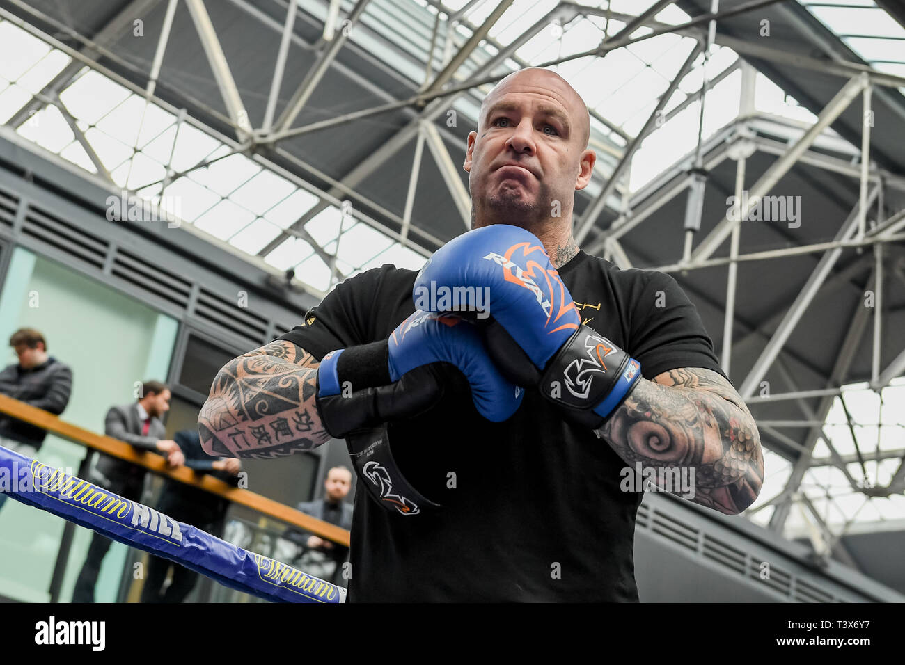 London, UK. 12th Apr, 2019. Australia's former WBA Heavyweight World Champion Lucas Browne during Allen-Browne during Public Workout at Old Spitalfields Market on Friday, 12 April 2019. London England. (Editorial use only, license required for commercial use. No use in betting, games or a single club/league/player publications.) Credit: Taka G Wu/Alamy Live News - Stock Image