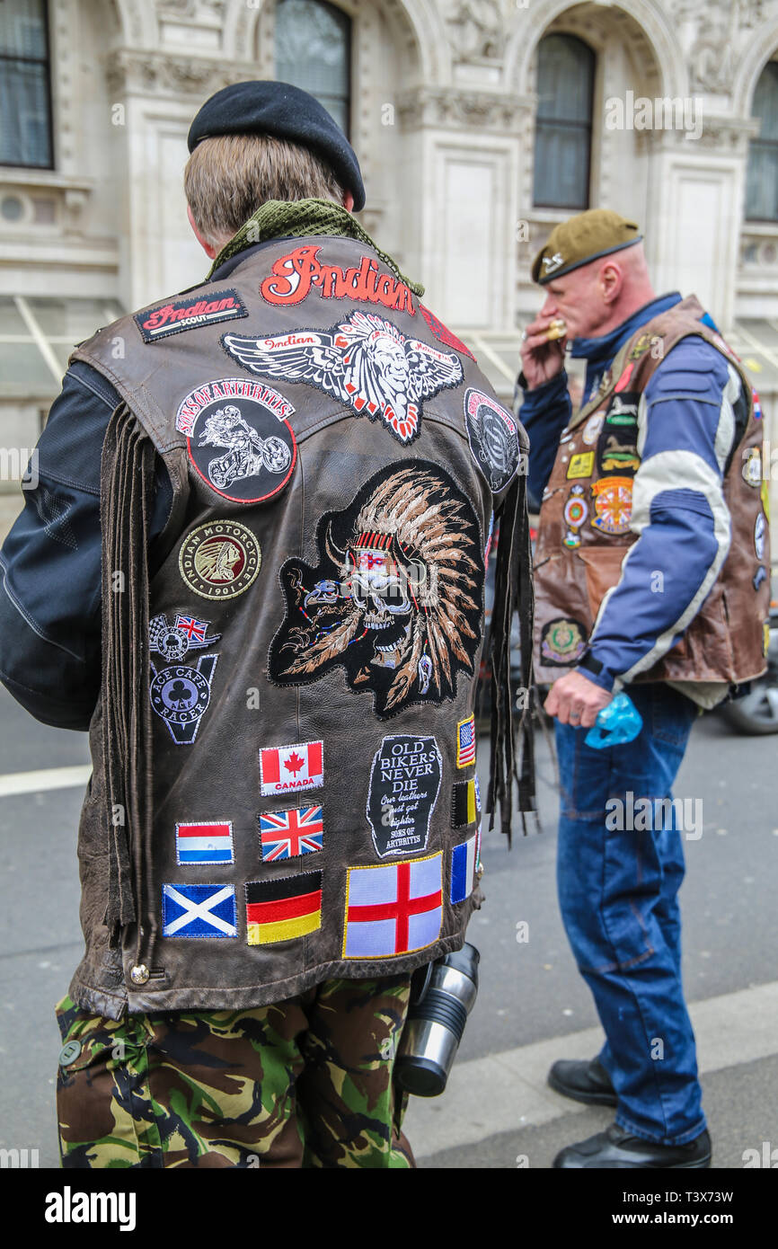 London, UK. 12th Apr 2019. Organisers of the Rolling Thunder ,Bikers group caused chaos in whitehall ,and round parliament square as thousands gathered to protest for  the persecution of soldier F in Northern Island ,over  Bloody Sunday Credit: Paul Quezada-Neiman/Alamy Live News - Stock Image
