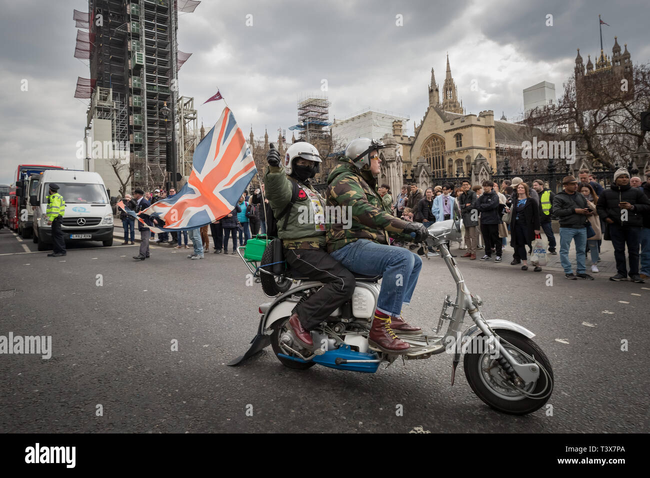 """London, UK. 12th April 2019. Rolling Thunder biker protest in Westminster. Thousands of bikers including army veterans and current members of serving forces ride through the city as part of a mass awareness protest to free """"Soldier F"""", who is currently facing charges from the Bloody Sunday shootings in Londonderry, Northern Ireland in 1972. Credit: Guy Corbishley/Alamy Live News - Stock Image"""
