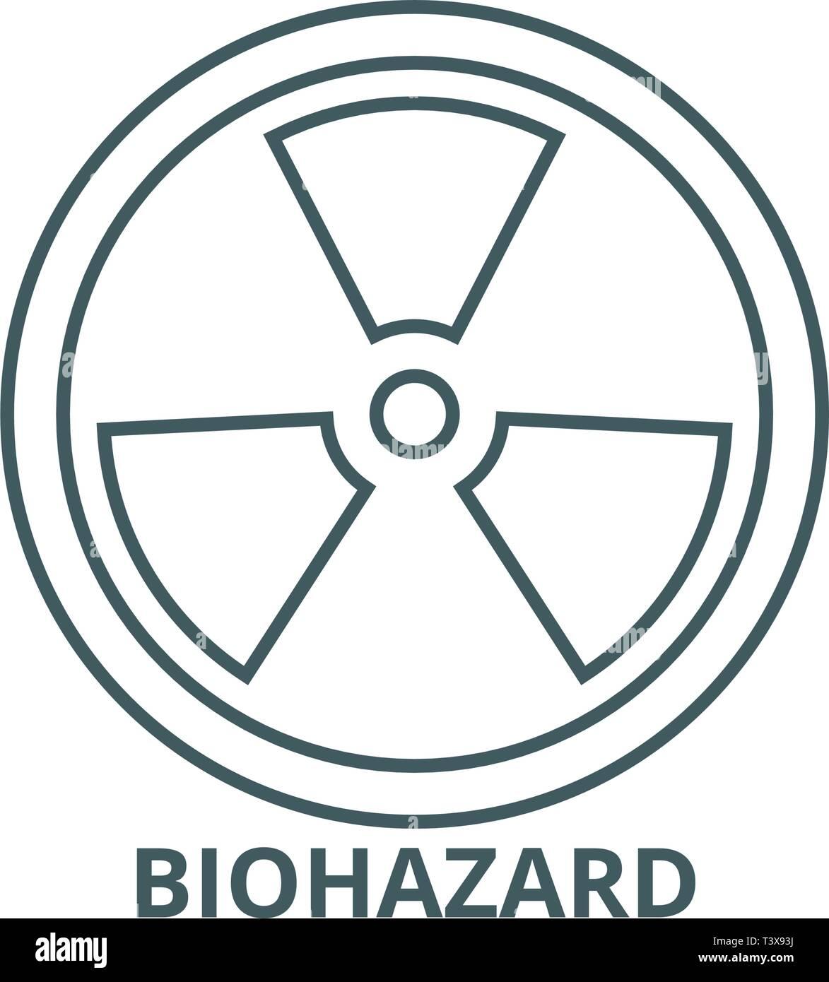 Biohazard,dangerous radiation line icon, vector. Biohazard,dangerous radiation outline sign, concept symbol, flat illustration Stock Vector
