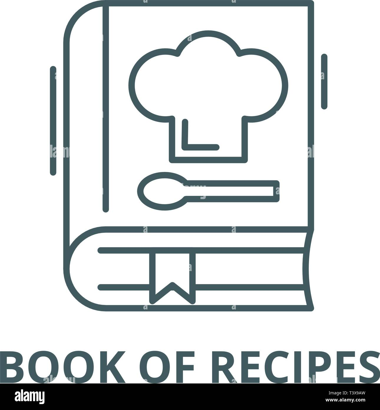 Book of recipes line icon, vector. Book of recipes outline