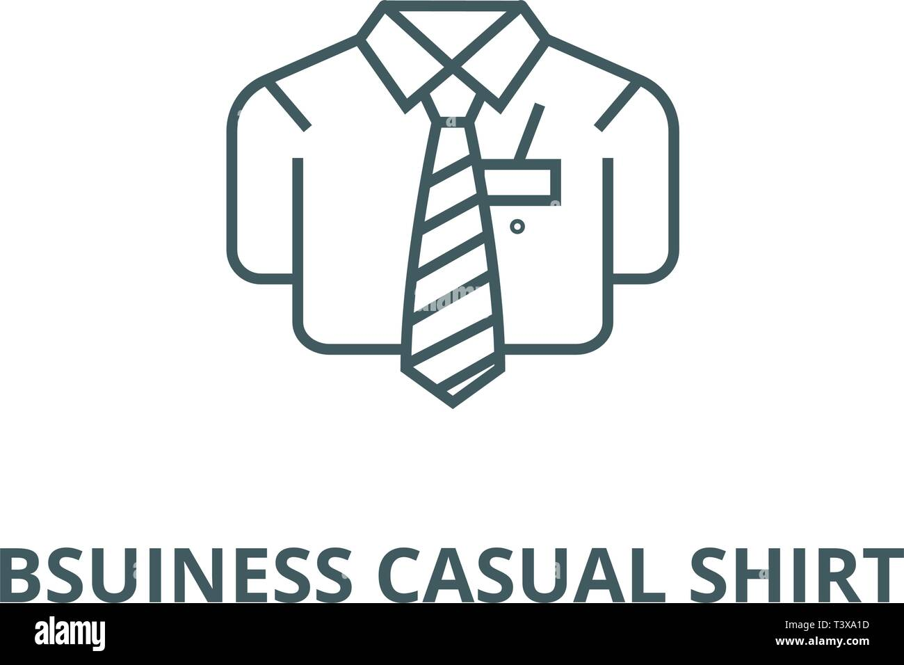 Bsuiness casual shirt line icon, vector. Bsuiness casual shirt outline sign, concept symbol, flat illustration - Stock Vector