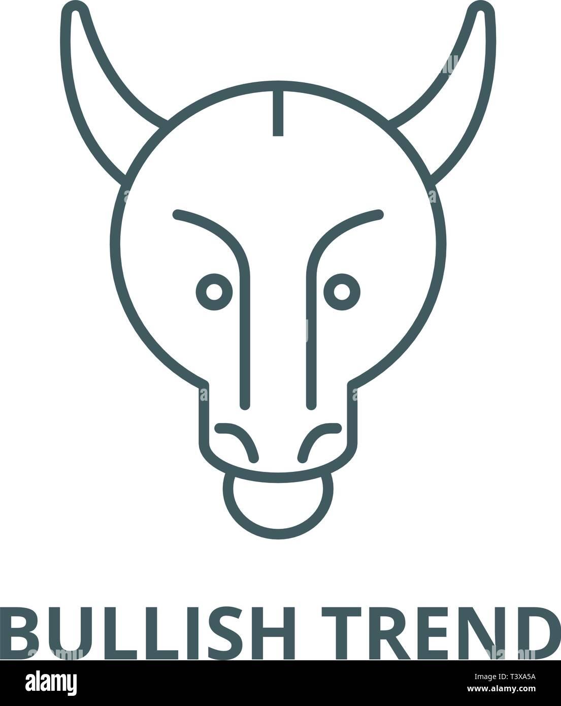 Bullish trend line icon, vector. Bullish trend outline sign, concept symbol, flat illustration Stock Vector