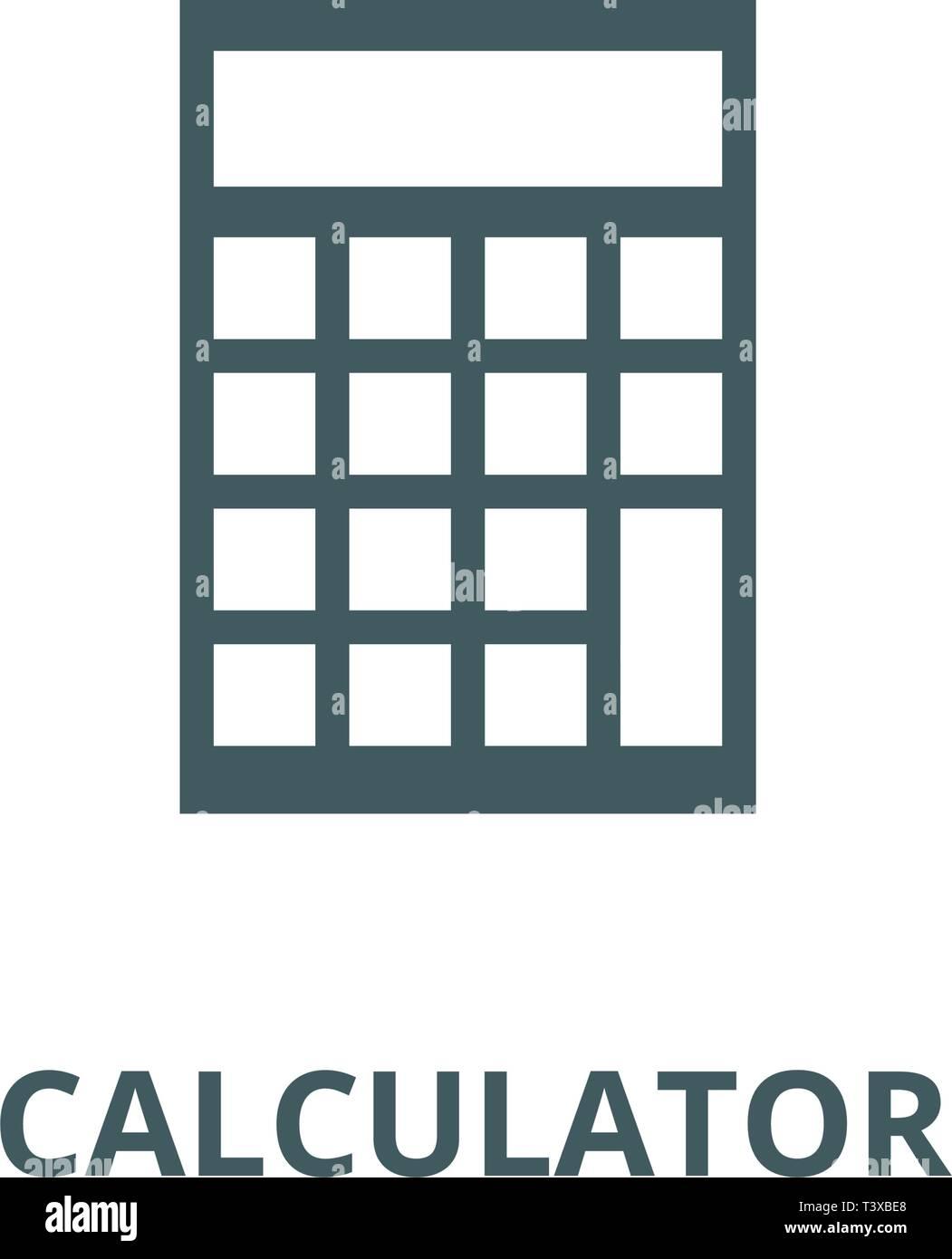 Calculator illustration line icon, vector  Calculator illustration