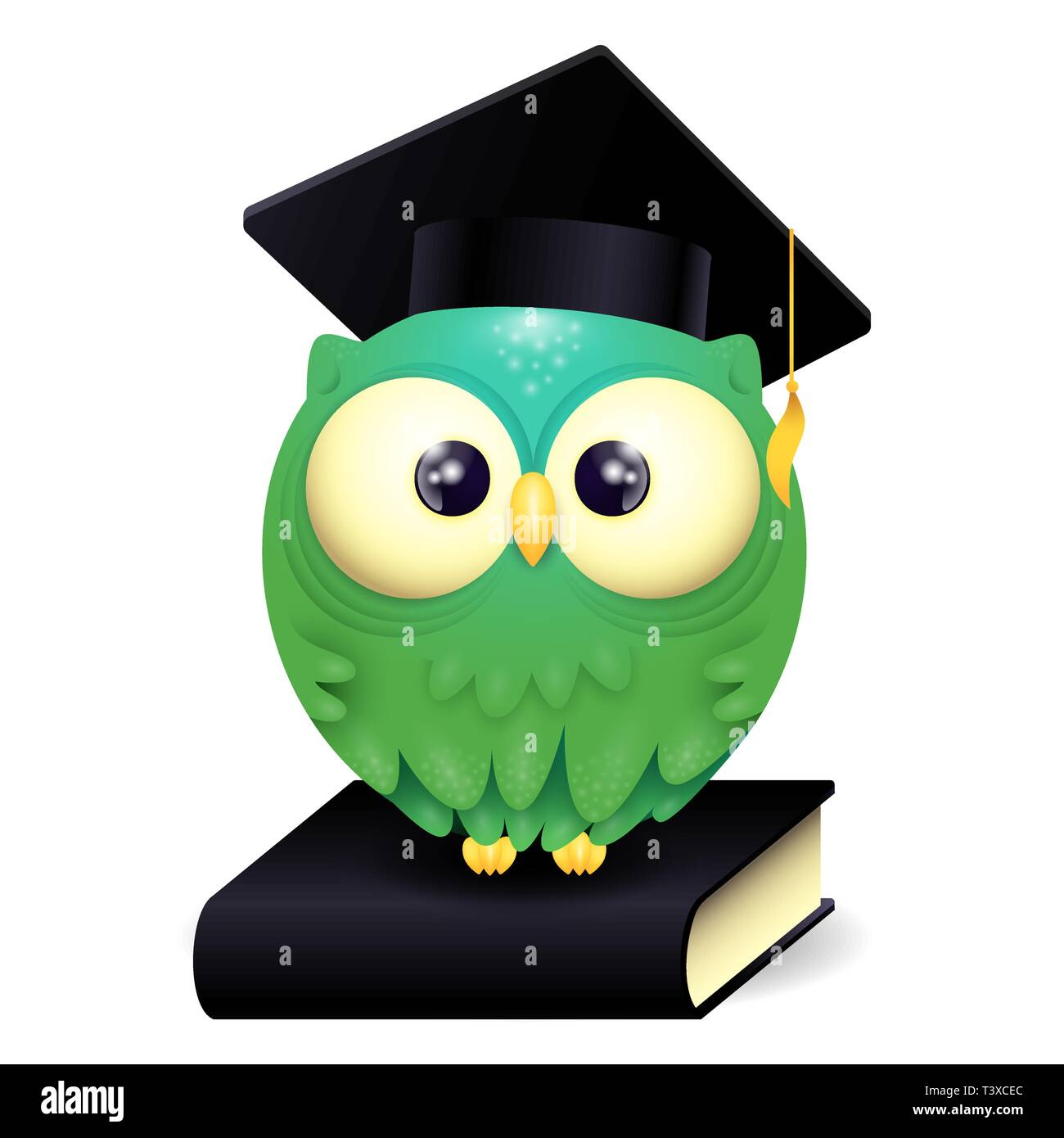 Vector Illustration of a cute lillte Owl wearing graduation cap and sitting on a black book - Stock Vector
