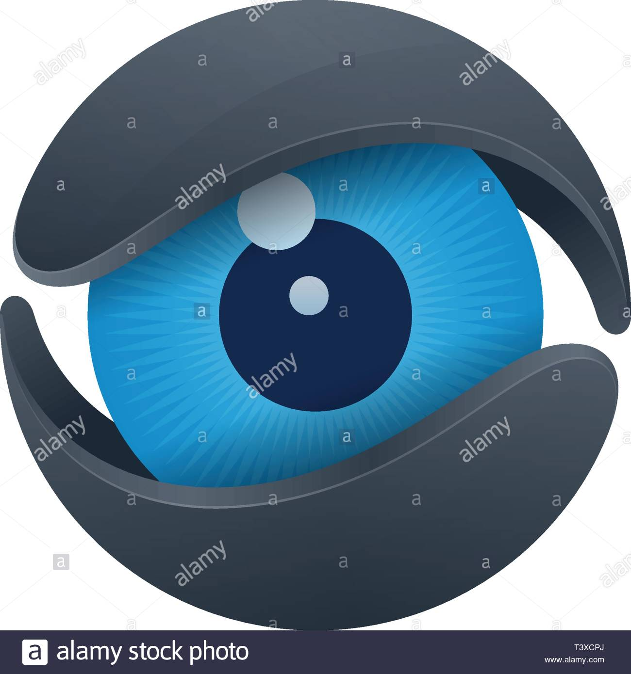 Blue eyeball in core on white background. Vision and media logo design. - Stock Vector