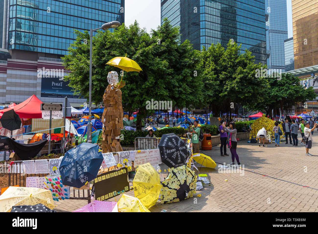 Hong Kong Yellow Umbrella protests saw main roads blockaded against traffic closing off whole sections of the Central business districts. Stock Photo
