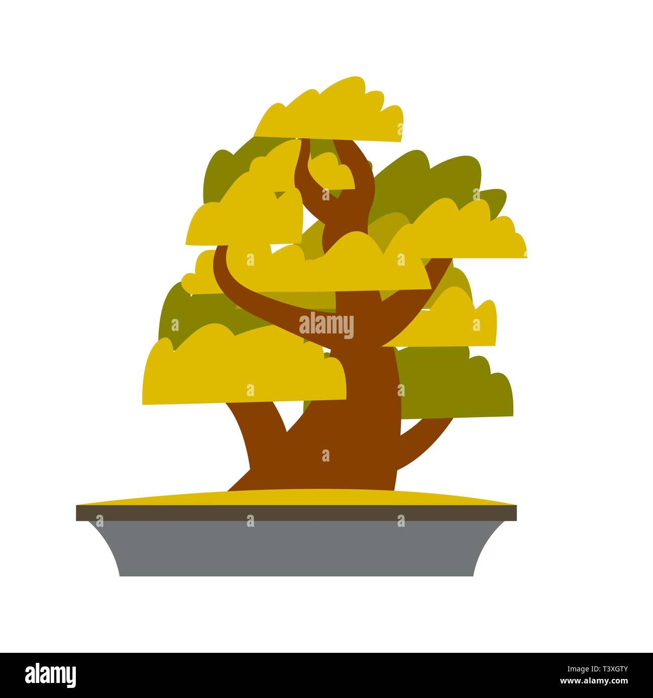Bonsai Japanese Cartoon Vector Tree Growing In Pot - Stock Vector
