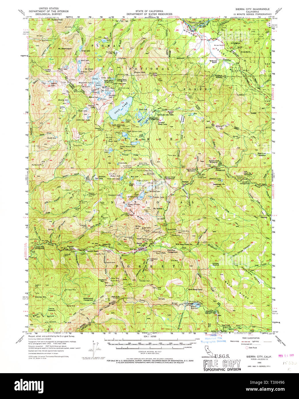 USGS TOPO Map California CA Sierra City 301711 1955 62500 ...