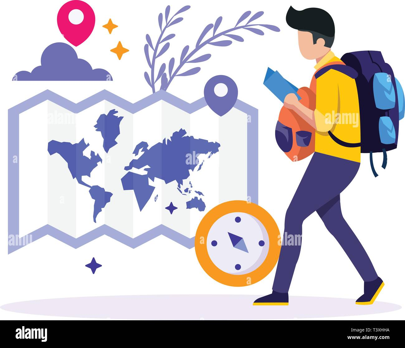 Young people with travel bag and map traveling - Stock Vector
