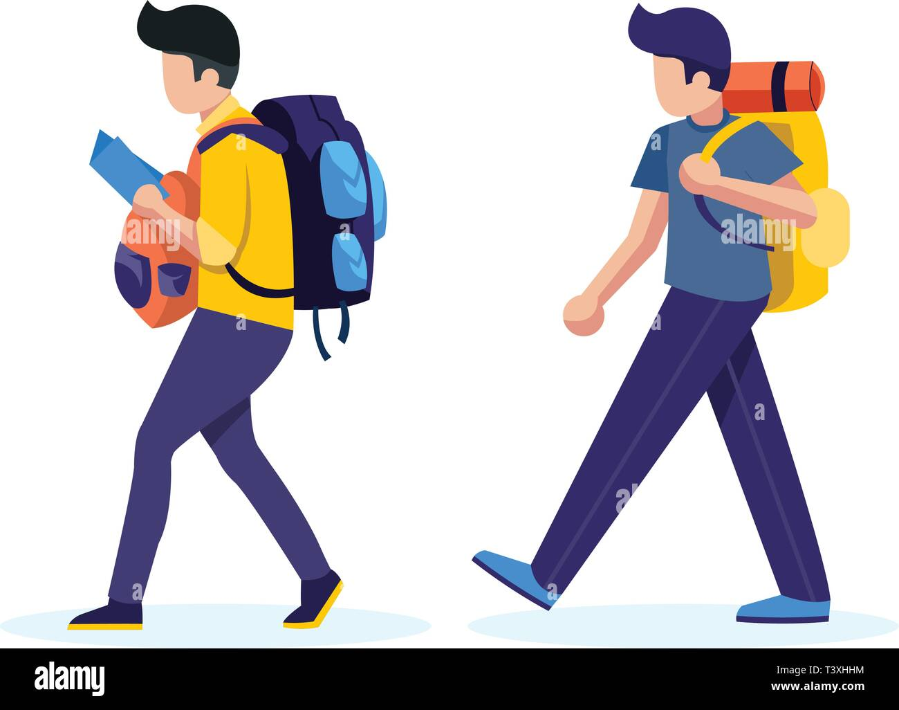 Young people with travel bag and map traveling vector concept - Stock Vector