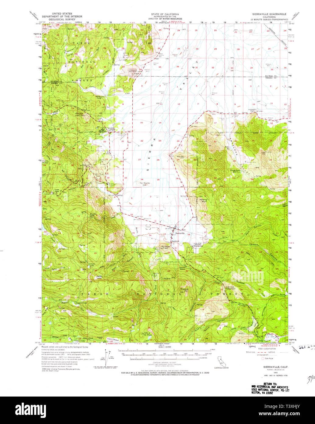 USGS TOPO Map California CA Sierraville 301719 1955 62500 ...