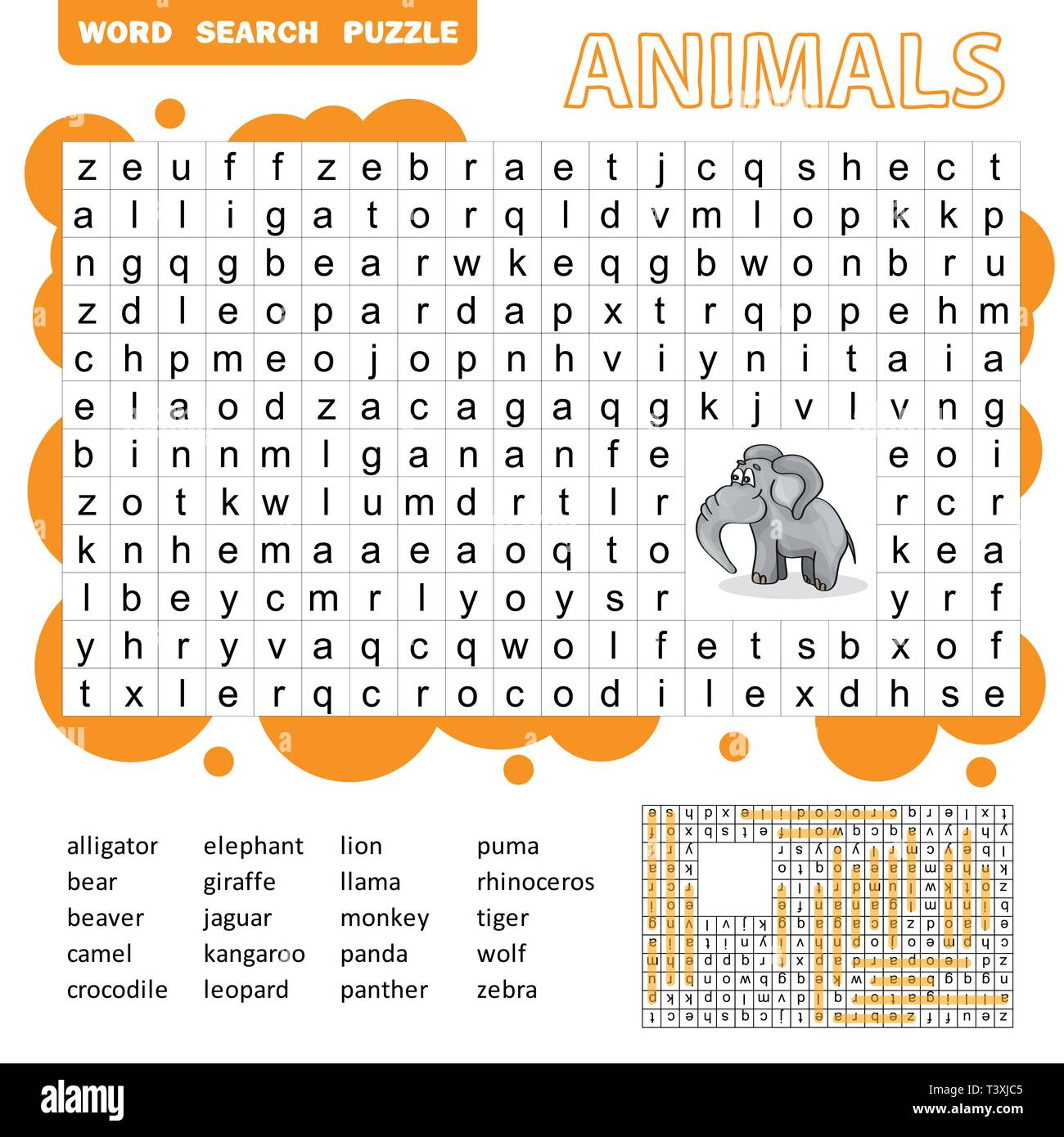 words search puzzle game of animals for preschool kids activity worksheet colorful printable. Black Bedroom Furniture Sets. Home Design Ideas