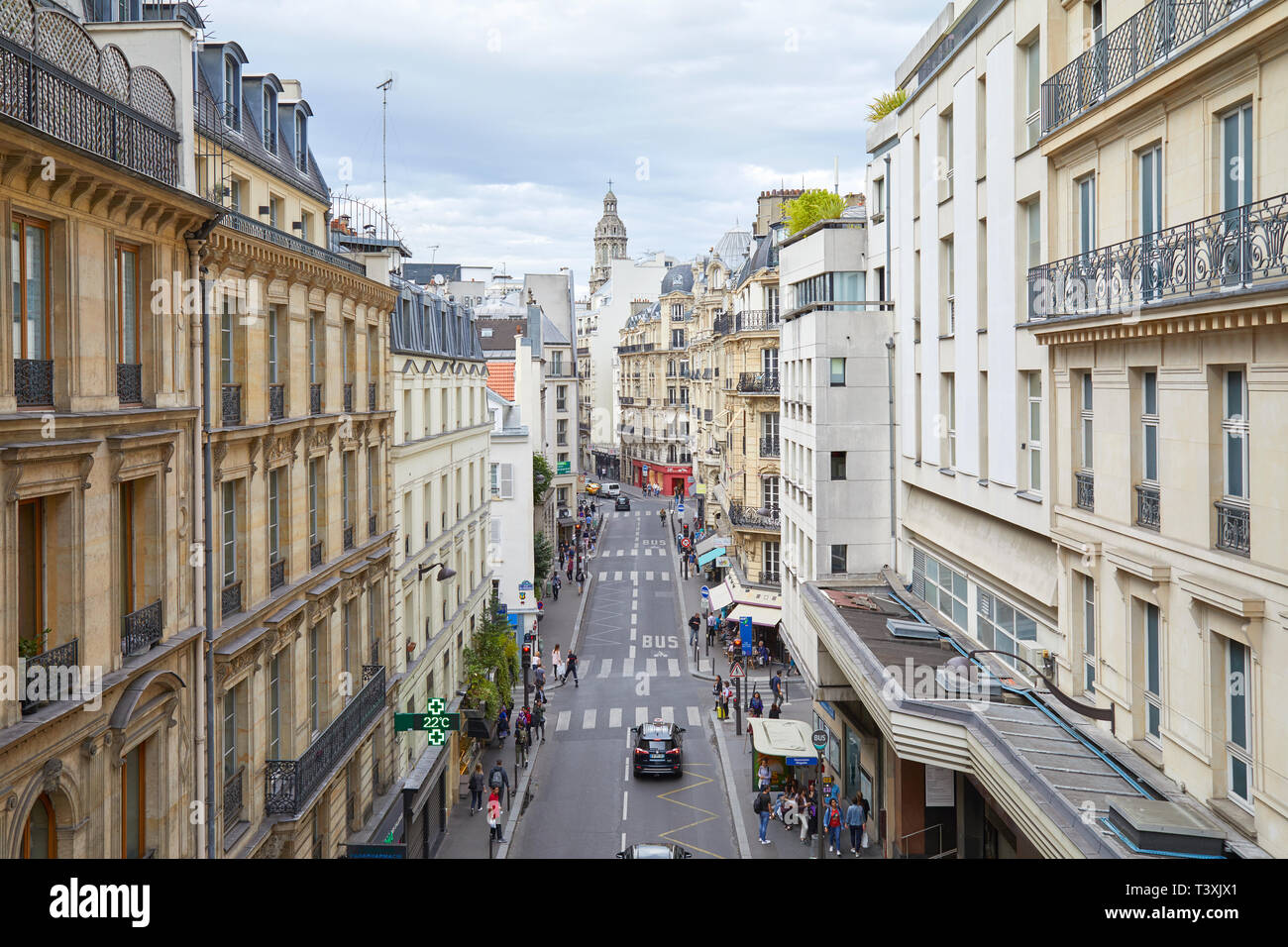 PARIS, FRANCE - JULY 22, 2017: Typical Paris street, high angle view with people and cars in France Stock Photo
