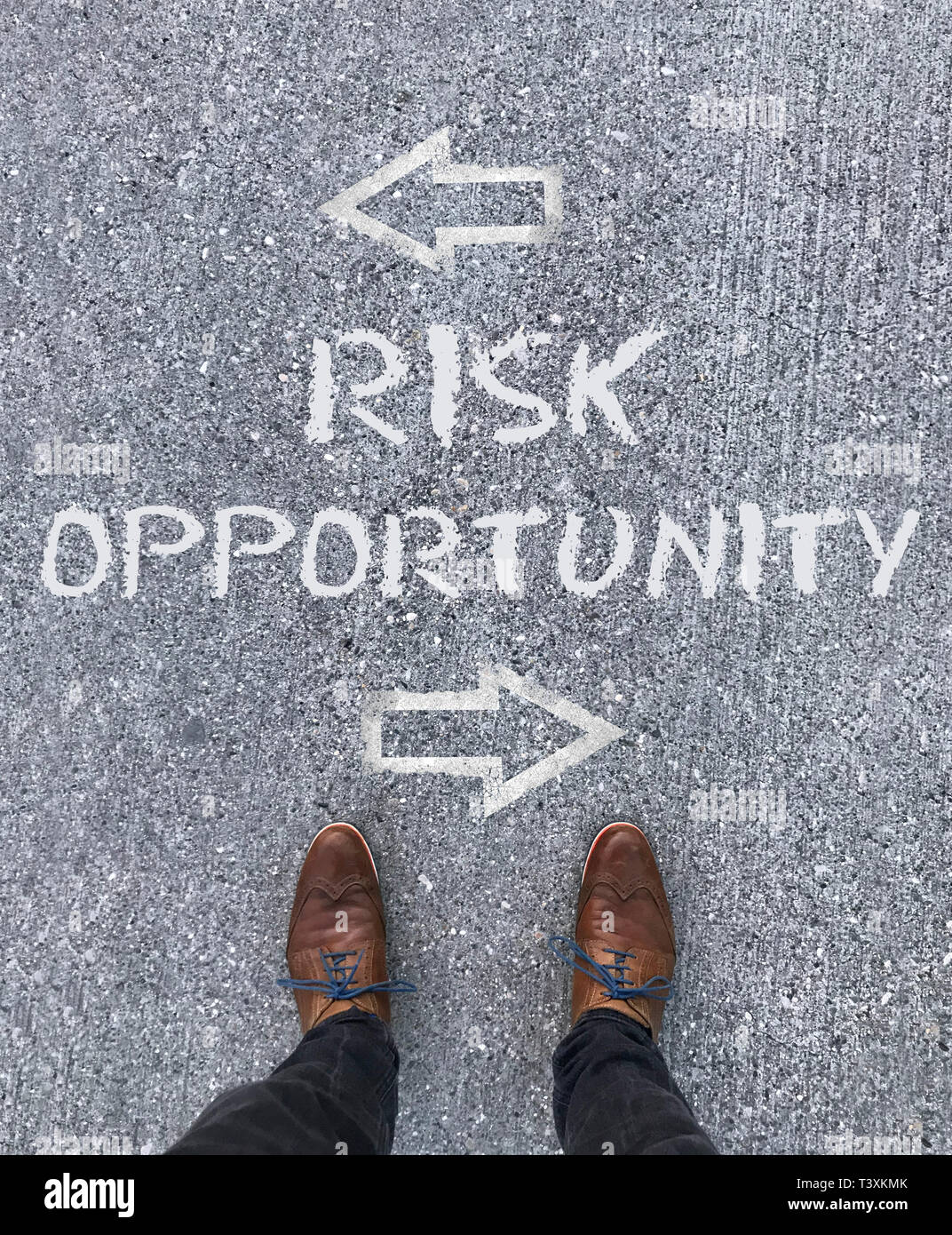 Time to decide: Opportunity or Risk - Stock Image