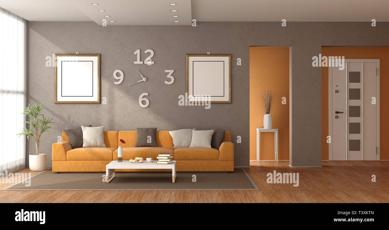 Modern Living Room With Orange Sofa And Closed Front Door On