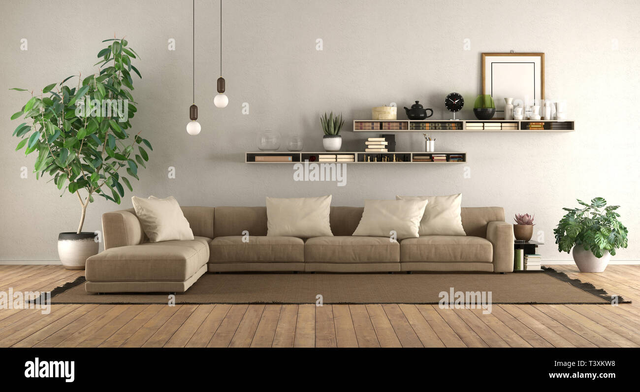 Modern living room with sofa and shelves on white wall - 10d