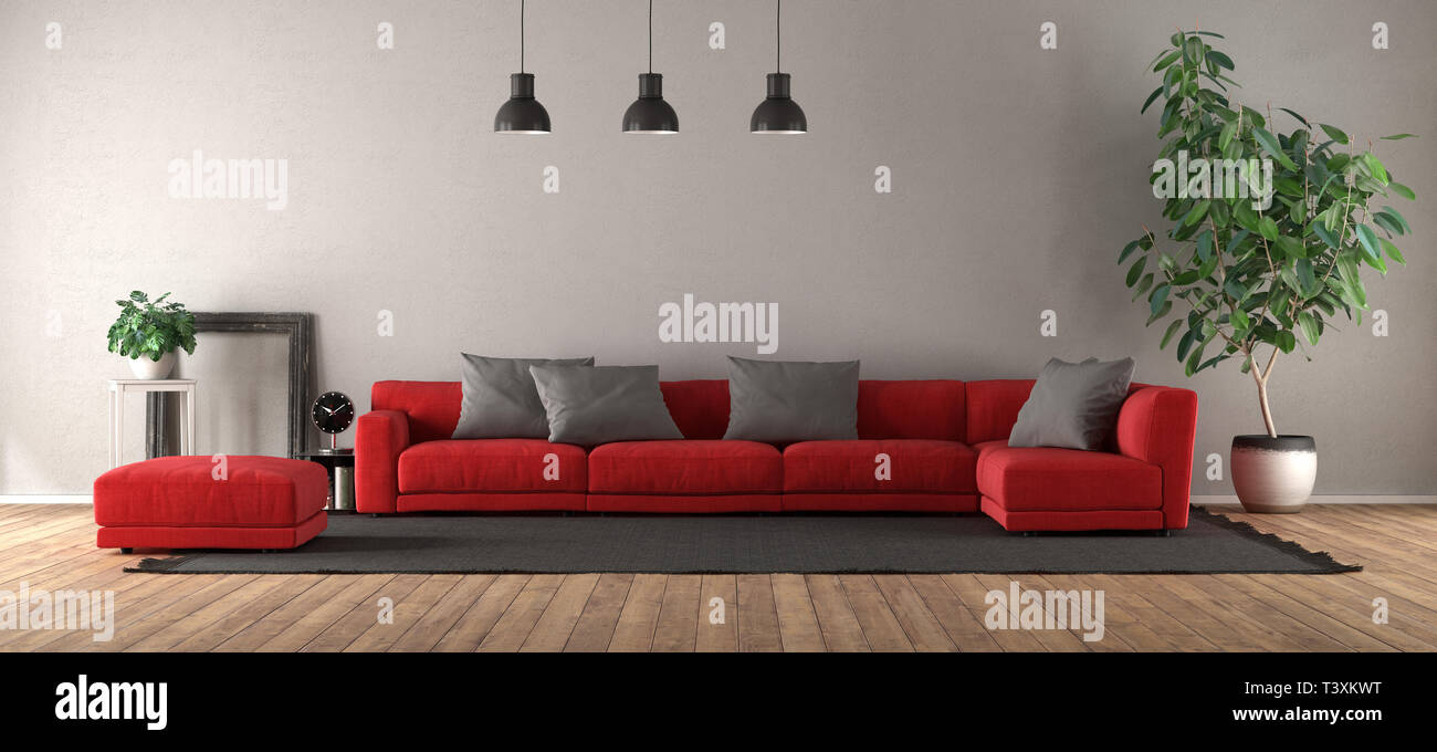 Modern living room with red sofa on black carpet - 3d rendering Stock Photo
