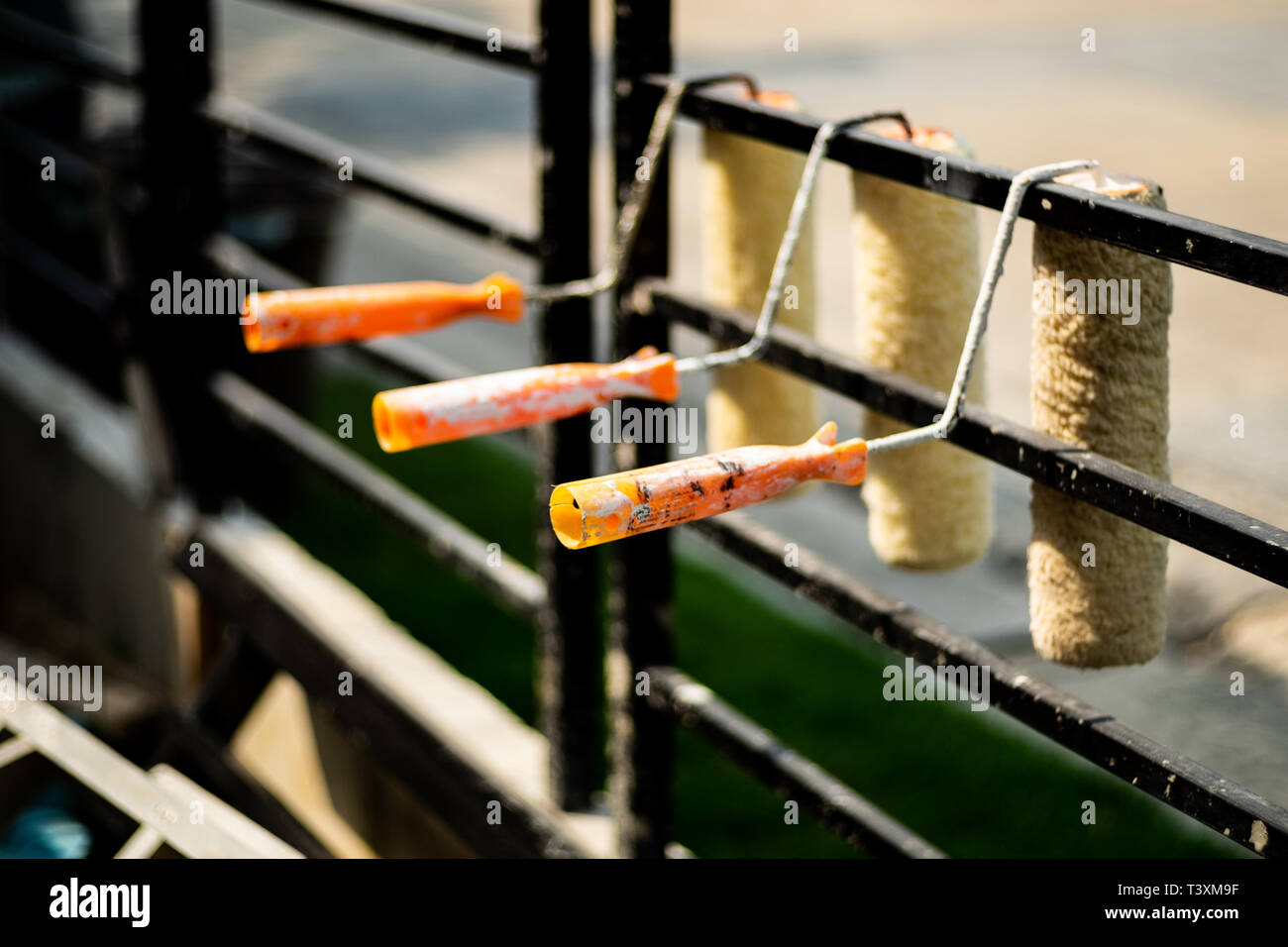 Row of paint roller cover hung on a black rail, After using and cleaning to wait for the next use, selective focus. - Stock Image