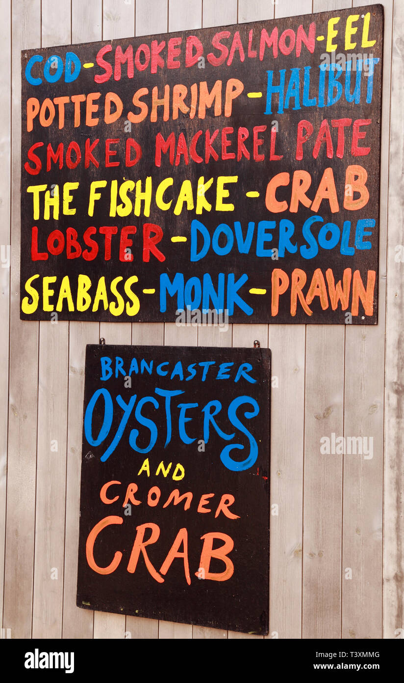 Gurneys, sea food, shop, sign, fishmonger, wet fish, Drove Orchards Farmshop, Thornham, Norfolk, UK Stock Photo