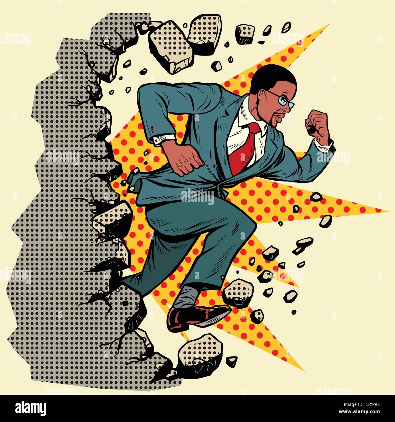 Leader african businessman breaks a wall, destroys stereotypes. Moving forward, personal development. Pop art retro vector illustration vintage kitsch - Stock Vector
