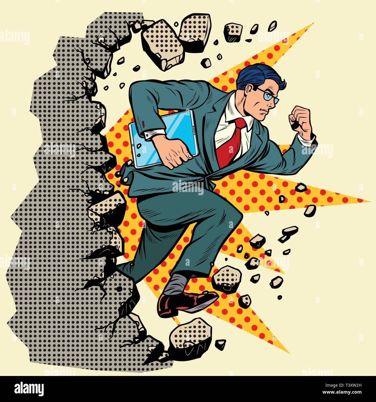 Leader gadget novation breaks a wall, destroys stereotypes. Moving forward, personal development. Pop art retro vector illustration vintage kitsch - Stock Vector