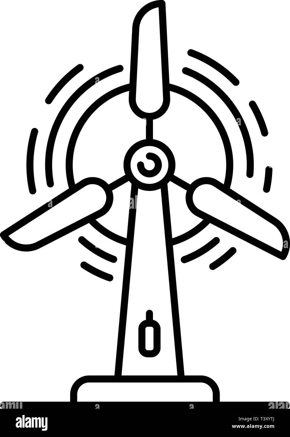 City wind turbine icon, outline style - Stock Image