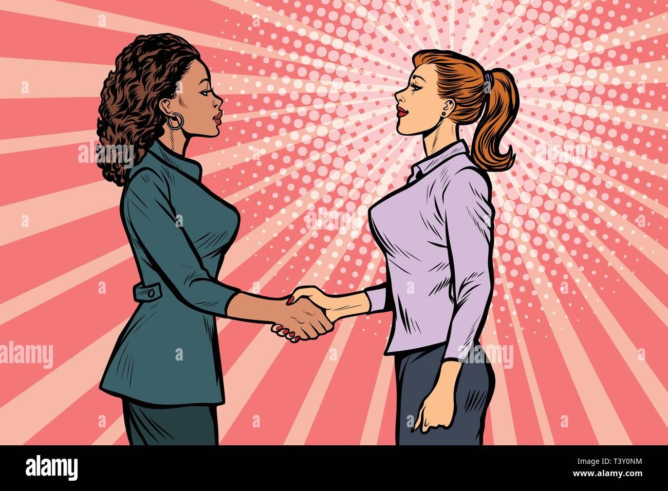 two businesswomen shaking hands. Pop art retro vector illustration vintage kitsch 50s 60s - Stock Vector