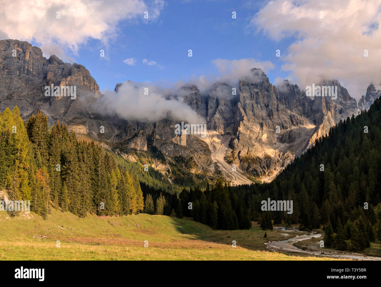 Val Vinegia, a small valley just below the high altitude pass of Passo Rolle in the Pale di San Martino group, Dolomites, Italy. taken about 1 hour be - Stock Image
