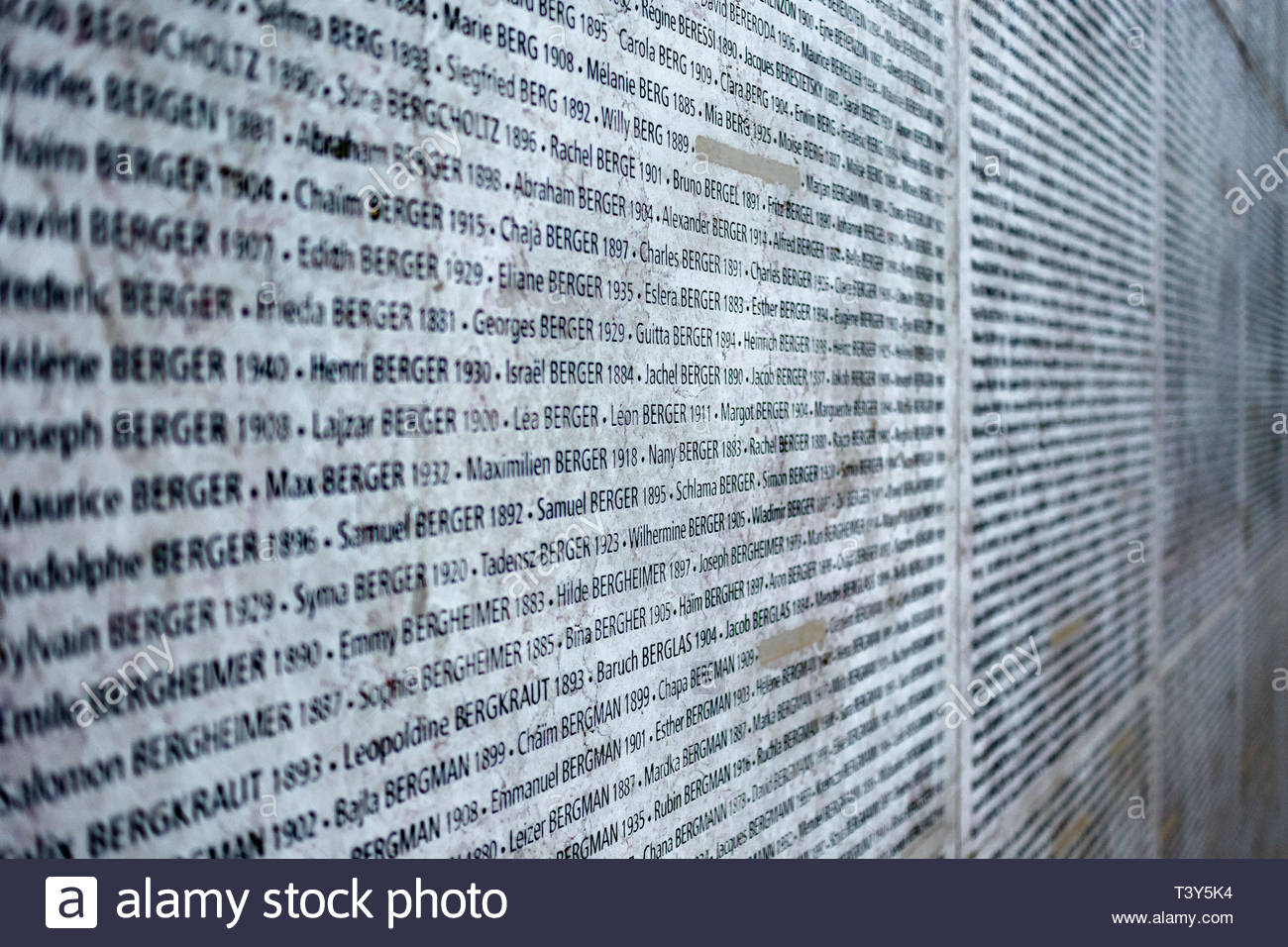 The Wall of Names, which includes 76000 names of Jews deported from France from 1942 to 1944, including 11400 children - Holocaust Memorial. August 29 - Stock Image