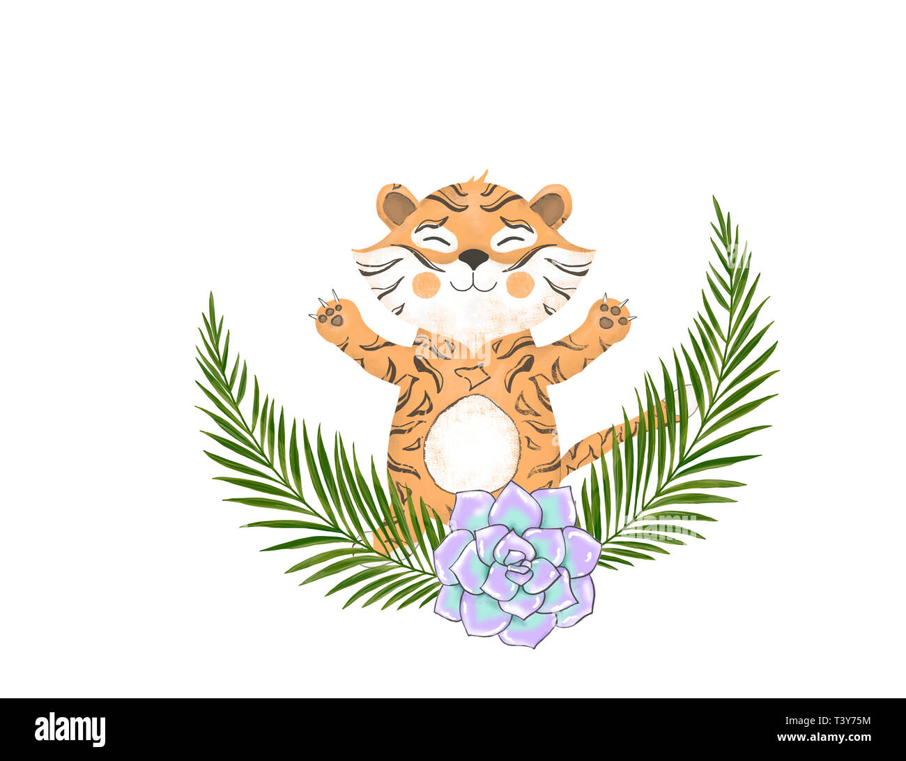 Happy Birthday Card With Cute Tiger Watercolor Animal Baby Greeting Boho Flowers And Floral Bouquets Set Greeti