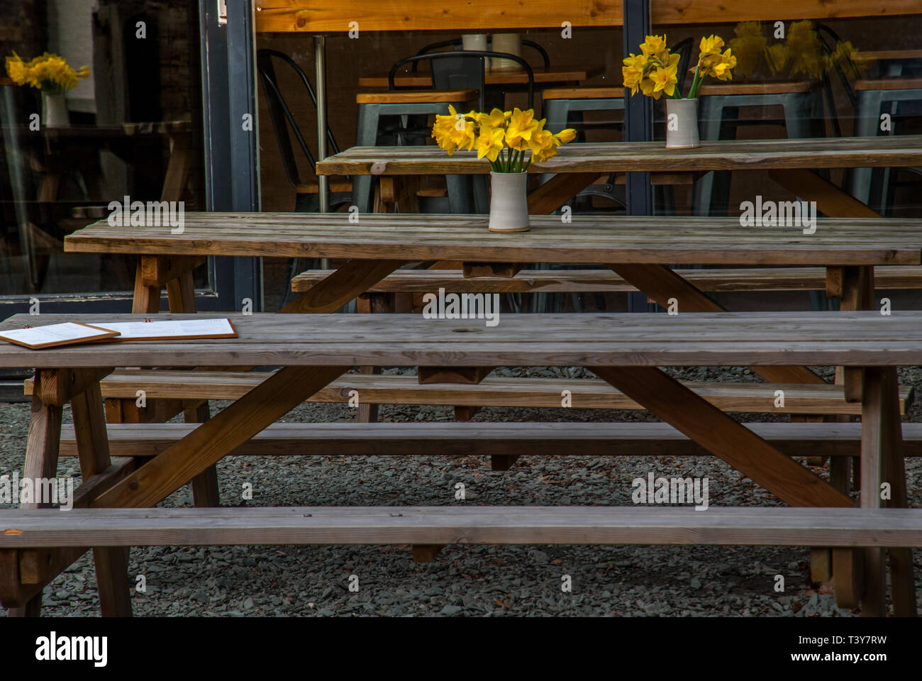 Empty Coffee Terrace With Tables And Chairs In London Stock