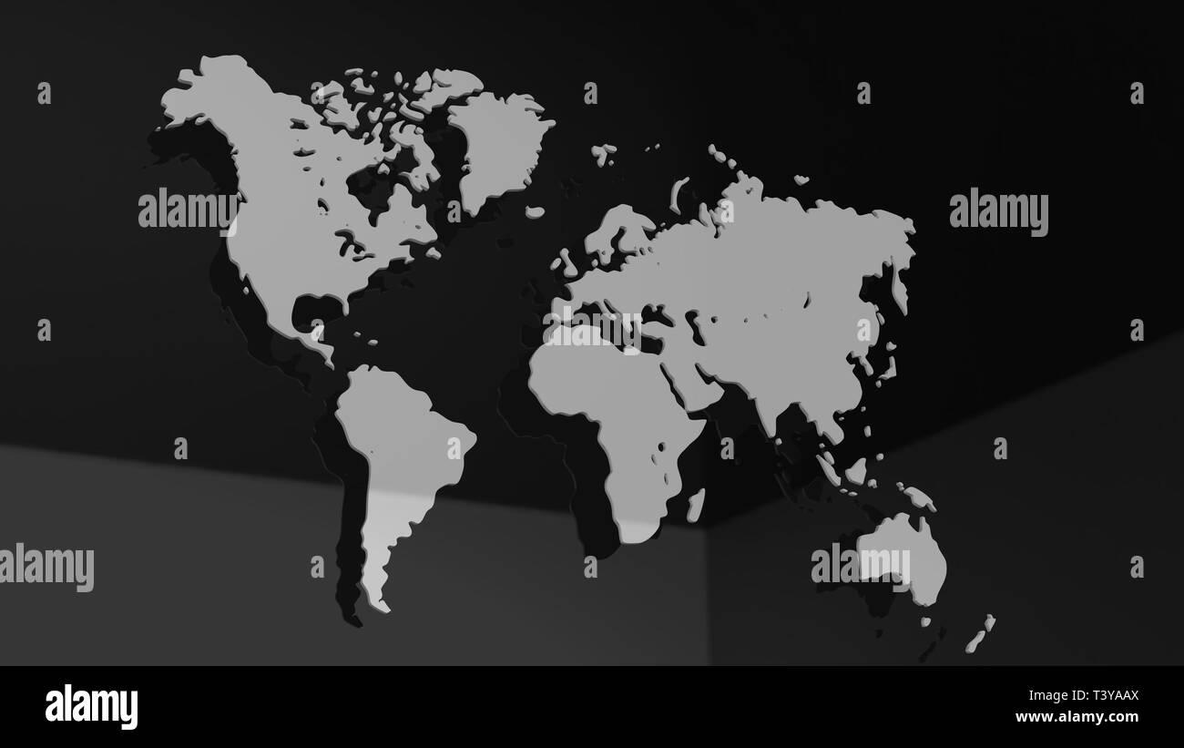 White 3D world map illustration isolated - Stock Image