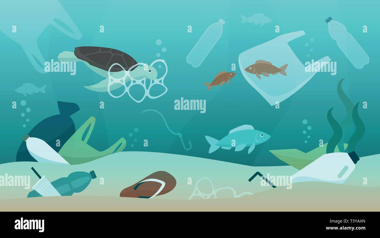 Ocean pollution impact on ecosystem and wildlife animals, sustainability and environmental protection concept - Stock Image