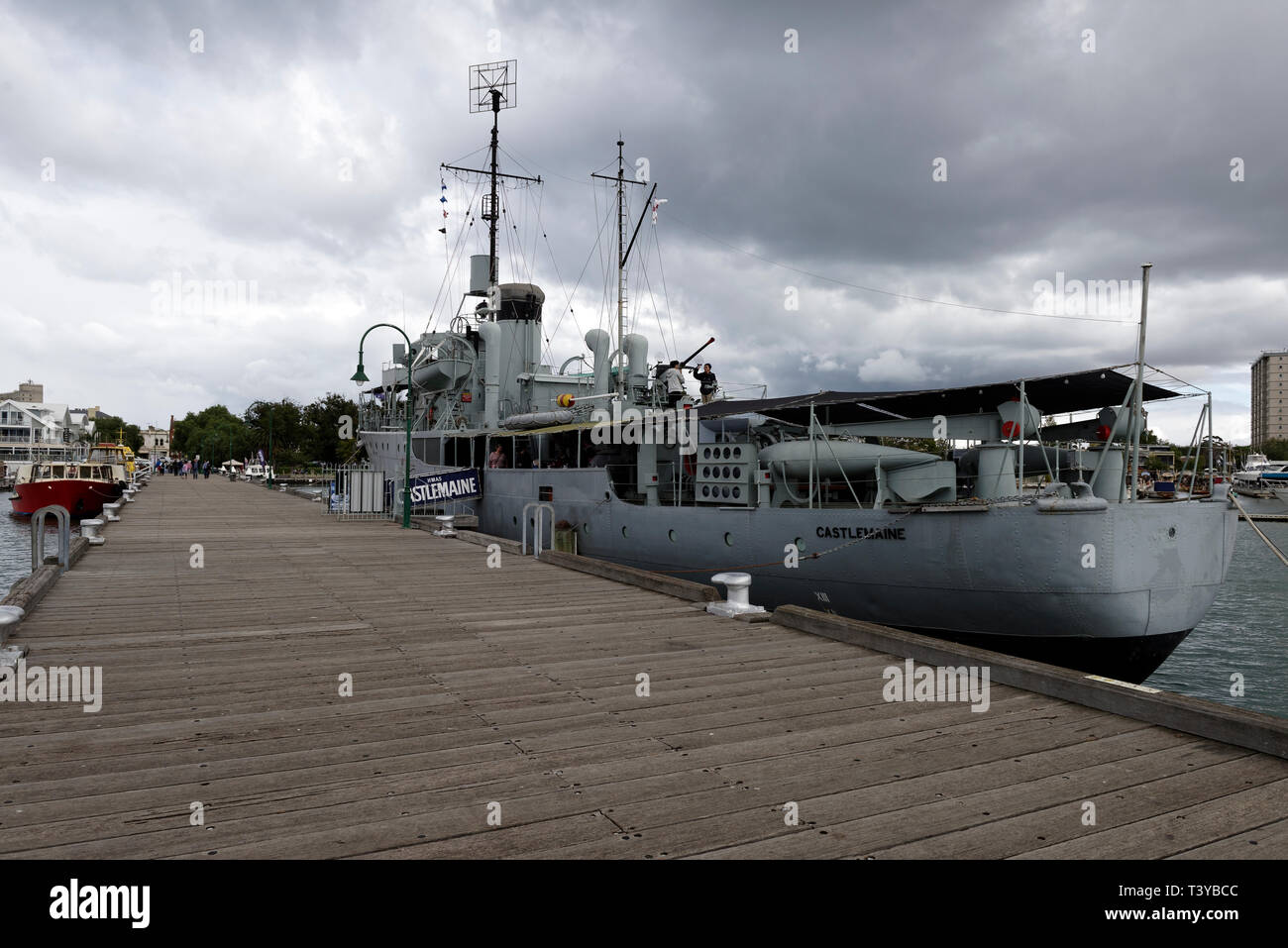 The HMAS Castlemaine, now a museum ship, permanently docked at the HM Naval Dockyard at Williamstown, Melbourne, Victoria, Australia. Launched in 1941 - Stock Image