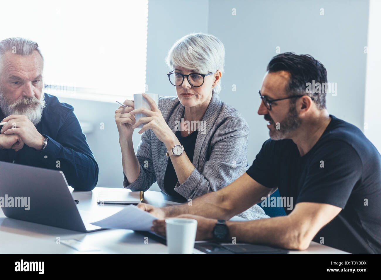 Business people talking while sitting at table in office. Businessman giving demonstrating on laptop to colleagues. Stock Photo