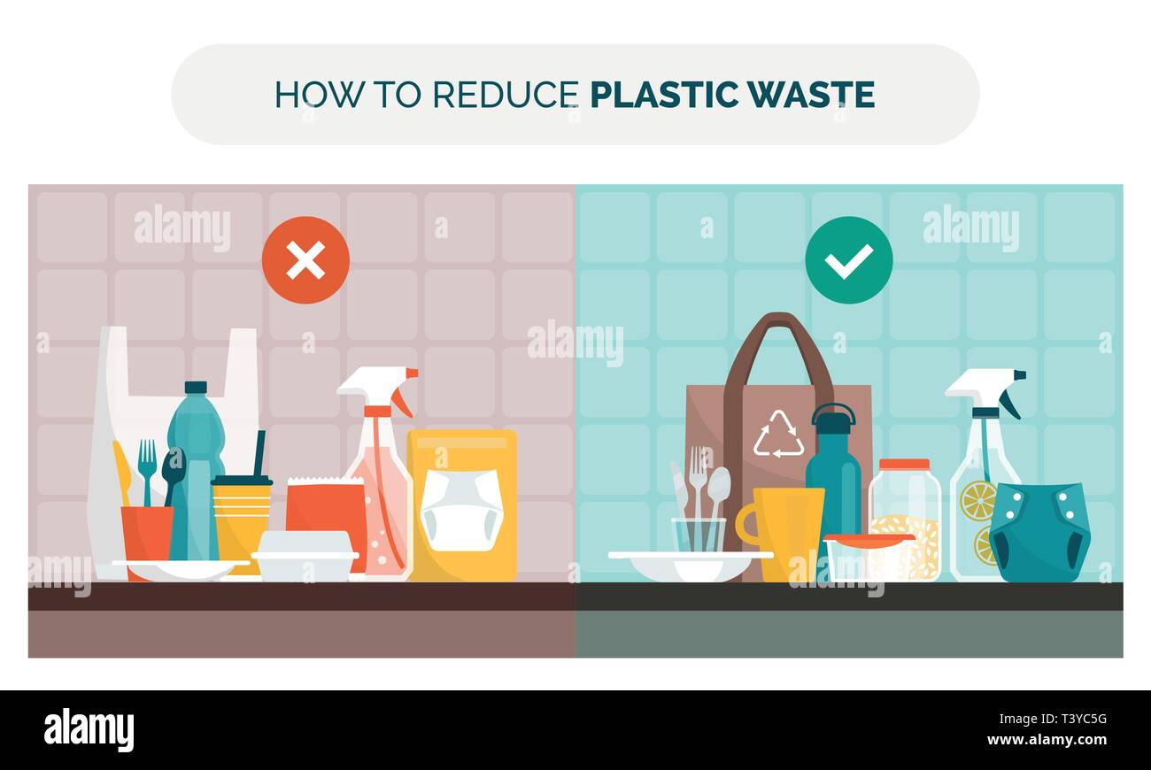 How to reduce plastic waste at home choosing reusable items instead of disposable products, objects comparison, zero waste and sustainability concept - Stock Image