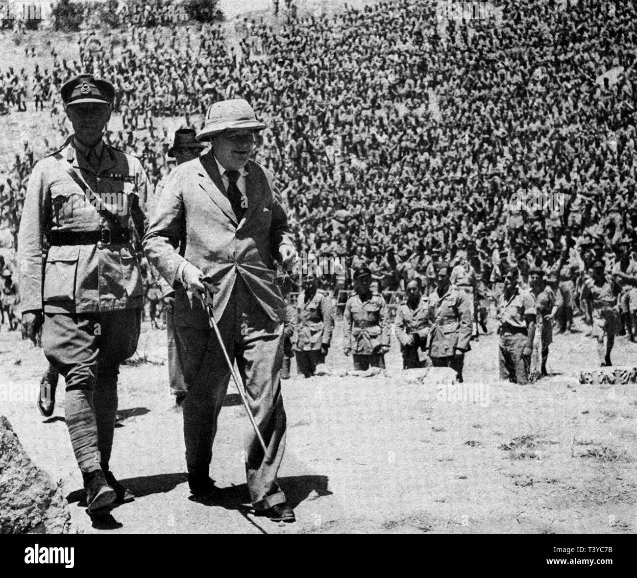 Winston Churchill at the Roman Theatre in Carthage with General Anderson, May 1943 - Stock Image