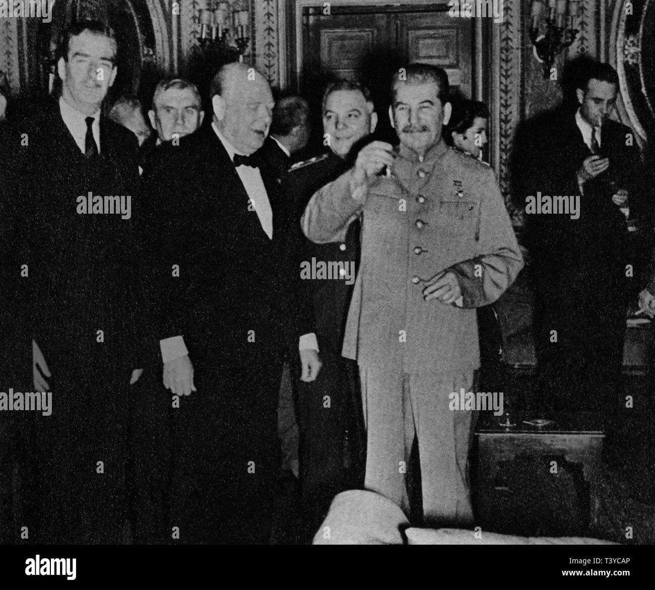 18a010a1ffbdc Winston Churchill with Stalin at the Teheran Conference. November 1943.  Also shown are Anthony