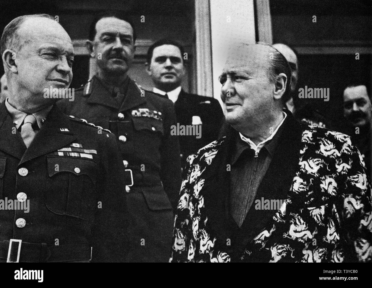 Winston Churchill with Generals Eisenhower and  Alexander at  Carthage recovering from a bout of pneumonia - Stock Image
