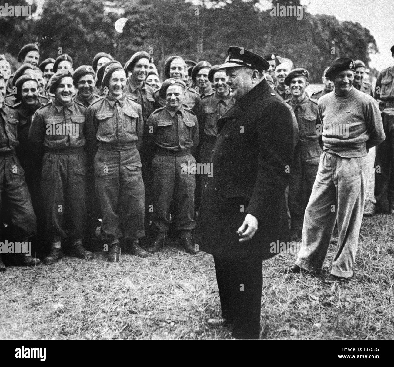 Winston Churchill in Northern France after D Day with Field Marshall Montgomery - Stock Image